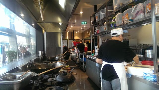 Inside kitchen at Chefs Gallery Chinese Restaurant Sydney