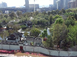 View from room at Novotel Rockford over Chinese Gardens
